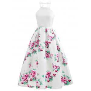 Vintage Floral Print Long Cutout Halter Dress