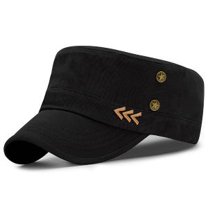 Pentastar Rivet Arrows Embellished Military Hat - Black