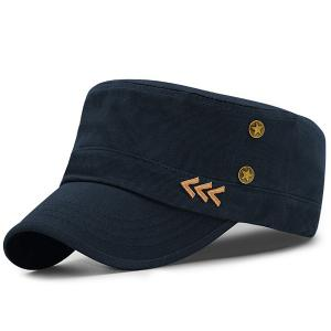 Pentastar Rivet Arrows Embellished Military Hat - Deep Blue - 37