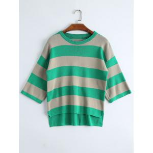 Plus Size High Low Striped Drop Shoulder Knitwear - Green - 2xl