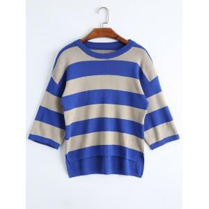 Plus Size High Low Striped Drop Shoulder Knitwear