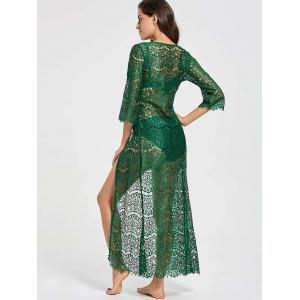 Ribbon Tied Lace Maxi Cover Up Kimono - BLACKISH GREEN ONE SIZE