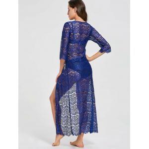 Ribbon Tied Lace Maxi Cover Up Kimono -