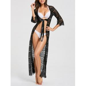 Ribbon Tied Lace Maxi Cover Up Kimono