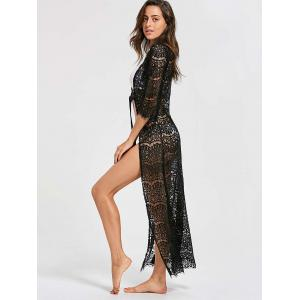Ribbon Tied Lace Maxi Cover Up Kimono - BLACK ONE SIZE