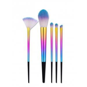 5Pcs Ombre Tapered Handle Makeup Brushes Set