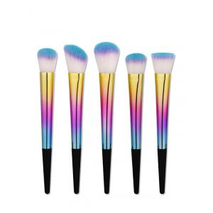 5Pcs Glitter Tapered Handle Makeup Brushes Set - Colormix