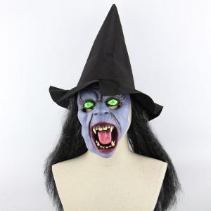 Witch Printed Halloween Mask Cap With Wig - Black