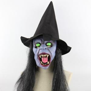 Witch Printed Halloween Mask Cap With Wig -
