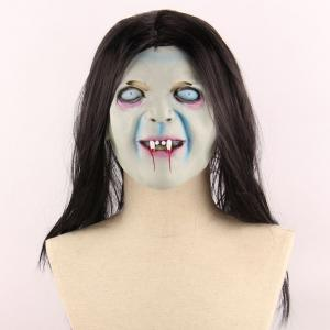 Horrible Ghost Printed Halloween Mask With Wig - Black