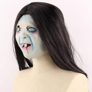 Horrible Ghost Printed Halloween Mask With Wig -