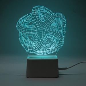 3D Geometric Remote Control Color Changing Night Light - TRANSPARENT