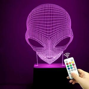3D Alien Skull Color Change Remote Control Decorative Light - Transparent