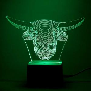 Remote Control Changeable 3D Cow Head Shape Night Light - Transparent