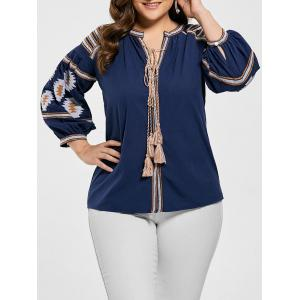Tassel Floral Embroidered Plus Size Blouse