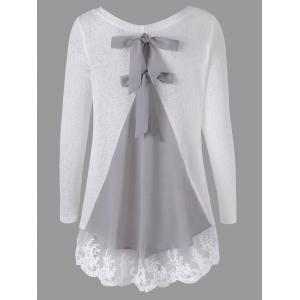 Long Sleeve Back Bowknot Lace Panel Knit Top