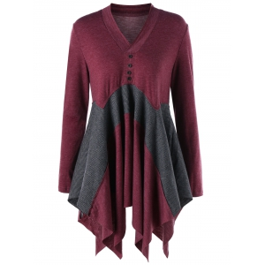 Long Asymmetric V Neck Long Sleeve Top