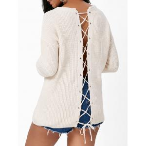 Back Criss Cross Drop Shoulder Sweater
