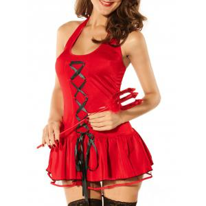 Halter Lace Up Halloween Devil Costume - Red - One Size