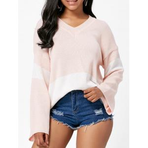 V Neck Boyfriend Color Block Sweater - Light Pink - One Size