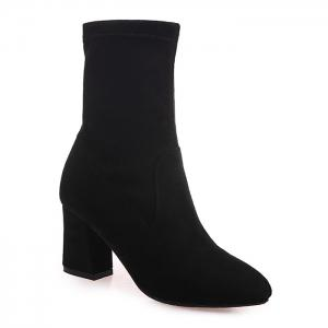 Pointed Toe Block Heel Short Boots - Black - 39