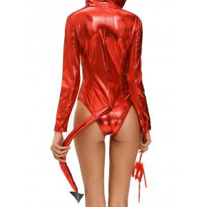 Glitter Hooded Halloween Devil Bodysuit -