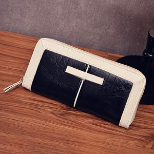 Bow Two Tone Clutch Wallet - BLACK