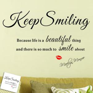 Keep Smiling Quote Wall Stickers For Living Room - Black