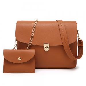 2 Pieces Hasp Crossbody Bag Set - Brown - 37