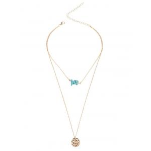 Layered Faux Turquoise Round Pendant Necklace