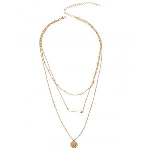 Bar Round Layered Charm Necklace