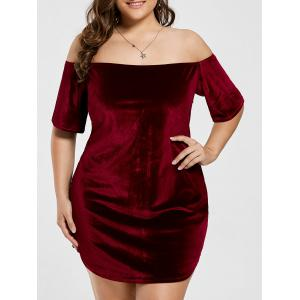 Plus Size Off The Shoulder Velvet Mini Dress
