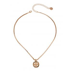 Box Chain Metal Round Crucifix Necklace