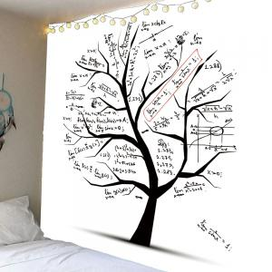 Waterproof Mathematical Function Of Equation Tree Printed Tapestry - Black - W79 Inch * L71 Inch