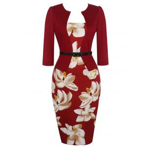 Floral Sheath Pencil Work Dress - Wine Red - S