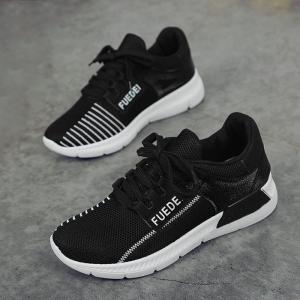 Mesh Color Block Breathable Athletic Shoes - WHITE AND BLACK 37