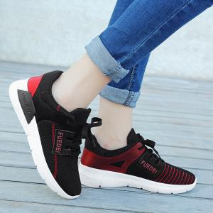 Mesh Color Block Breathable Athletic Shoes - RED WITH BLACK 37