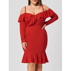 Plus Size Ruffle Dew Shoulder Mermaid Dress - Red - 5xl