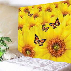 Sunflower and Butterfly Print Wall Tapestry