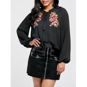 Lace Up Floral Embroidered Blouse - Black - L