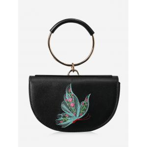 Embroidery Metal Ring Tote Bag - Black And Green - 5xl
