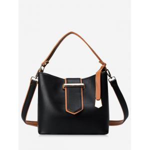 Metal Embellished Colour Block Tote Bag - Black