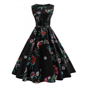 Vintage Sleeveless Flower Print A Line Dress