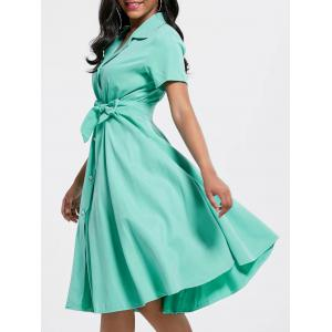 Maxi Short Sleeve Button Up Shirt Dress - Green - S