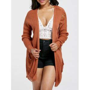 Pocket Ripped Drop Shoulder Cardigan