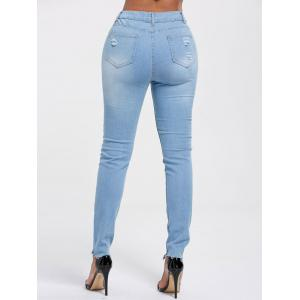 High Rise Ripped Skinny Jeans - LIGHT BLUE S