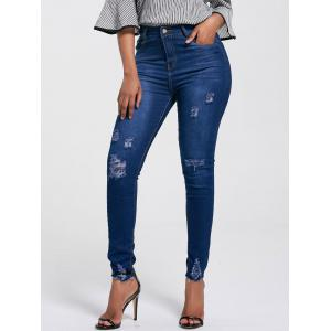 High Rise Ripped Skinny Jeans -