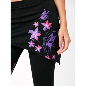 Flower Butterfly Print Criss Cross Flare Pants -