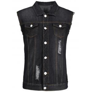 Button Up Ripped Denim Waistcoat - Black - M