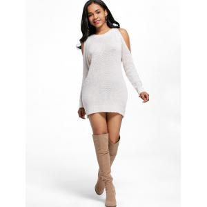 Off White One Size Open Shoulder Tunic Sweater Dress | RoseGal.com